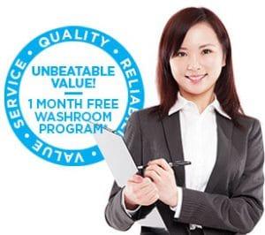 Fresh and Clean washroom service promo logo