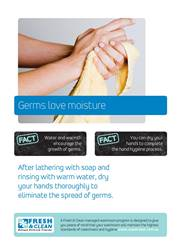 A4 Hygiene Poster: Germs love moisture